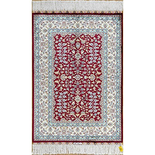 (Yilong 2'x3' Oriental Turkish Silk Rug Home Floral Traditional Hand Knotted Carpet (2 Feet by 3 Feet, Maroon) 0471)