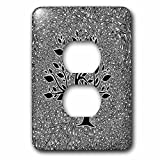 Doreen Erhardt Business Collection - Business Themed Black and White Paisley with Leafy Tree Silhouette - Light Switch Covers - 2 plug outlet cover (lsp_235483_6)