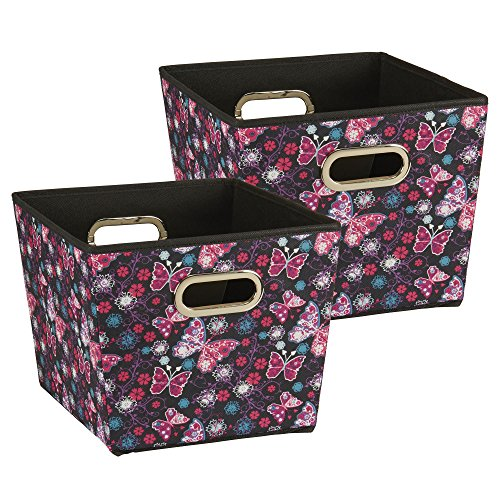 - Household Essentials 99 Medium Tapered Decorative Storage Bins | 2 Pack Set Cubby Baskets | Black Butterfly