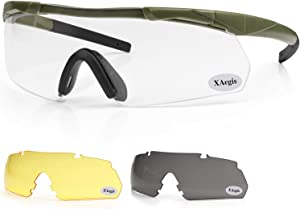 XAegis Tactical Shooting Glasses with 3 Interchangeable Lens High Impact Eye Protection for Range Safety Glasses Included Yellow,Clear, Smoke Grey Lens