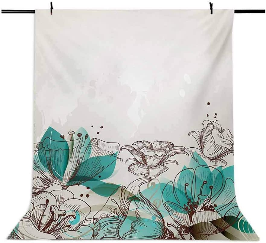 Turquoise 10x12 FT Photo Backdrops,Retro Floral Background with Hibiscus Silhouettes Dramatic Romantic Nature Art Background for Photography Kids Adult Photo Booth Video Shoot Vinyl Studio Props