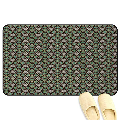 Oriental Mat Rug Traditional Arabesque Pattern with Stripes Ornamental Geometric Design Fern Green Black Camel Rubber Front Entrance Outside Doormat W47 x L59 INCH