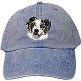 Cherrybrook Dog Breed Embroidered Adams Cotton Twill Caps - Royal Blue - Australian Shepherd