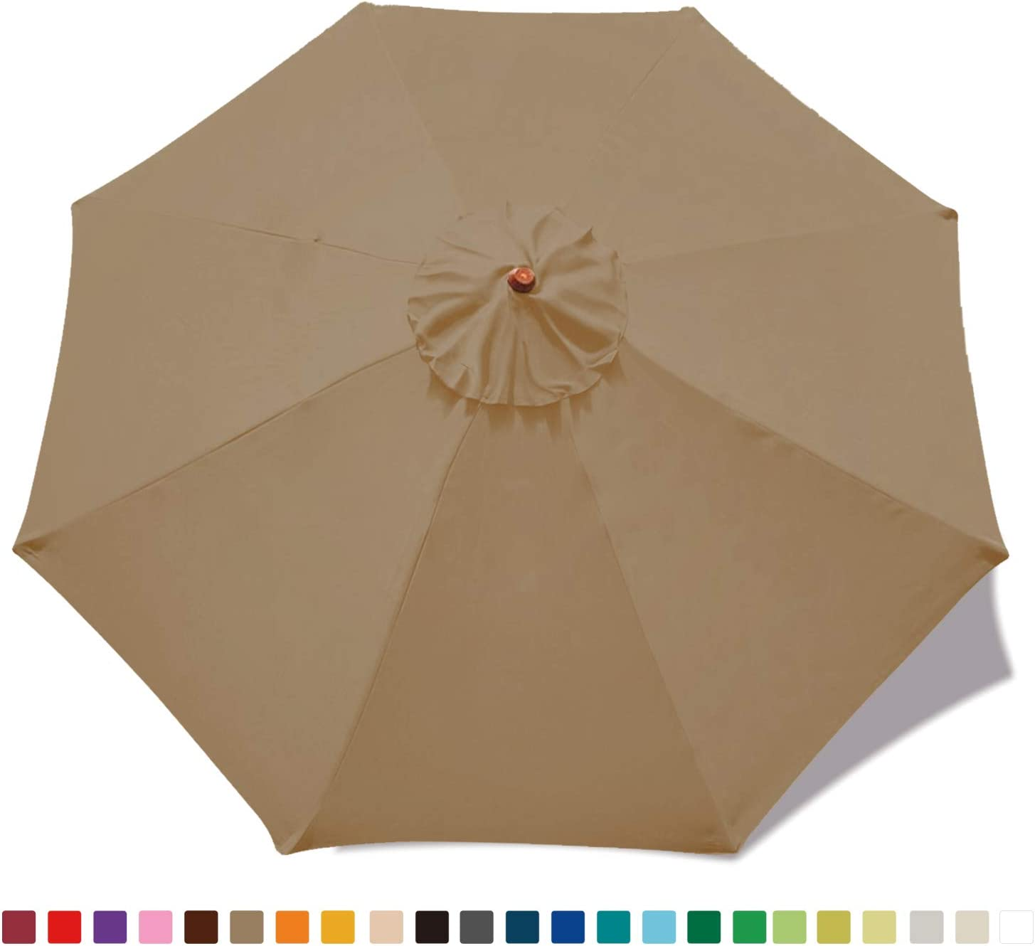 MasterCanopy 30 Colors Replacement Market Umbrella Canopy for 9ft 8 Ribs Canopy Only Khaki