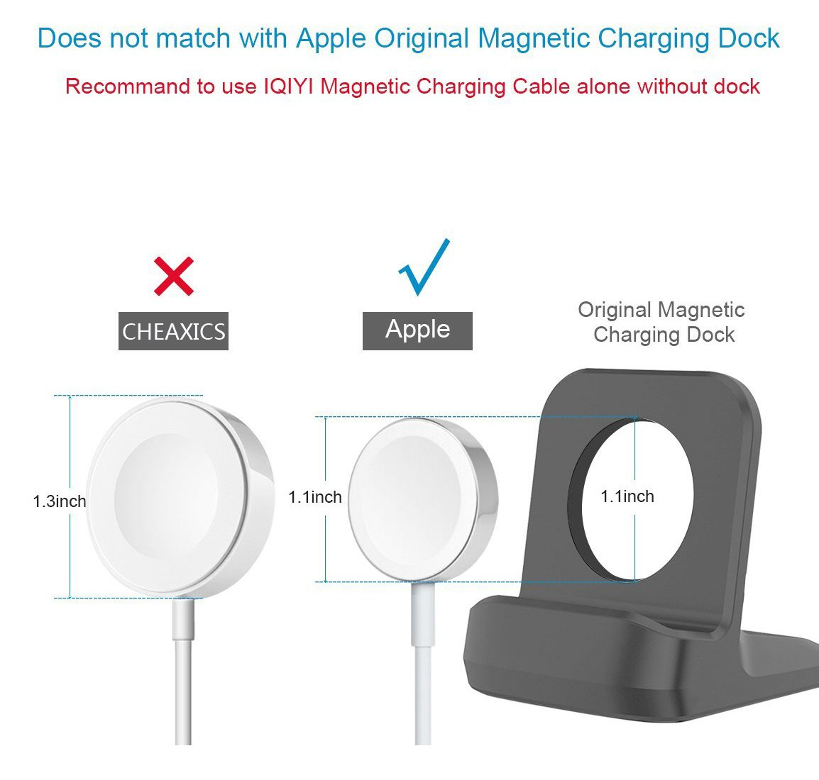Apple Watch Charger Cable, CHEAXICS iwatch Magnetic Charging Cable Portable Cord 3.3 feet/1meter for iWatch 38mm & 42mm, Apple Watch Series 1/2/3 (silver 3.3ft) by CHEAXICS (Image #5)