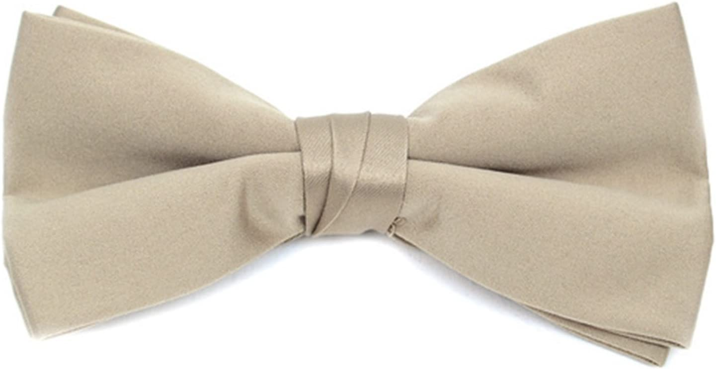 Young Boys Pre-tied Adjustable Length Bow Tie Formal Tuxedo Solid Color Light Yellow