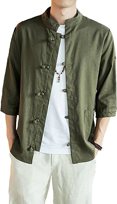 Men/'s Cotton Linen Blend Retro Chinese Casual Stand Collar Frog Tang Jacket Coat