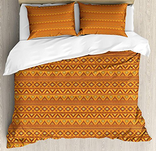 Z&L Home Aztec Duvet Cover Bedding Sets Luxury Soft Flat Sheet Set with Pillow Shams for Kids Teen Girls Boys Men Women, Folkloric Borders Triangle Motifs with Circles and Abstract Sun Figures (Aztec Sun Collection)