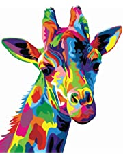 Tirzah Paint by Numbers Kits 40cm x 50cm Canvas Painting for Adults and Kids with 3X Magnifier, Acrylic Paints and Brushes - Neon Giraffe (Without Frame)