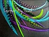 Feather Hair Extensions - 16 Piece - Purple Green Blue - Caribbean (9'' - 12'' 23 - 29 cm ) Long)