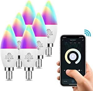 MoKo Smart WiFi LED Light Bulb, 5W E12 Candelabra Base, RGB Warm White Dimmable Candle Bulb, Work with Alexa Echo/Google Home/SmartThings, Voice/APP Control, No Hub,Only 2.4GHz Network, 6 Pack