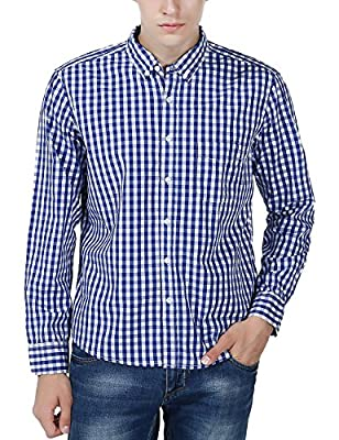 Xi Peng Men's Western Plaid Checkered Fitted Button Down Long Sleeve Dress Shirts