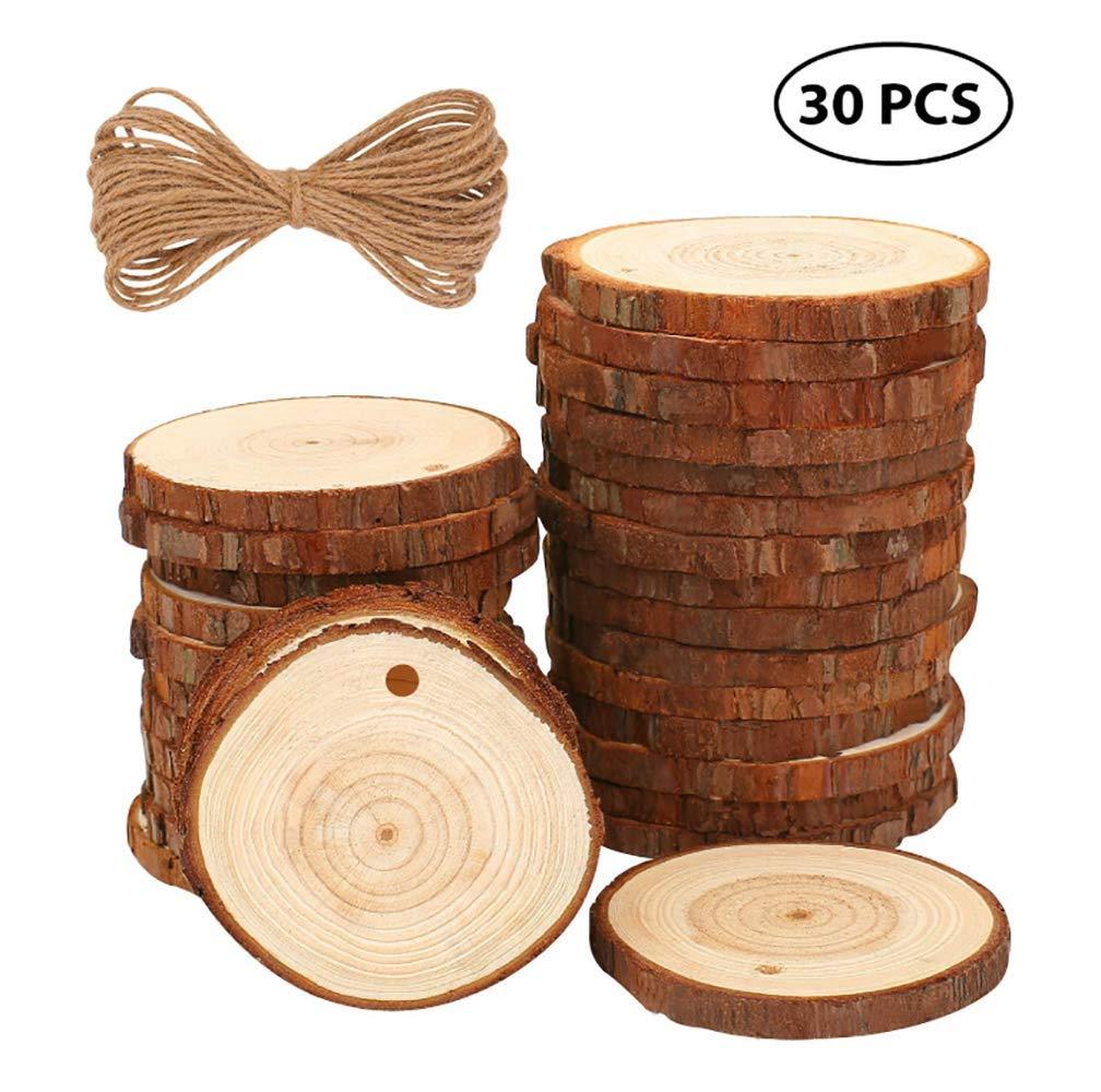 Rondelles de Bois disques en Bois with 10M Corde de Jute Bois Etiqutte Naturel pour Bricolage DIY Mariage Carte Shuny 30 pcs Tranches de Bois Naturel Bois Tranches de Disques 5-6cm avec Trous