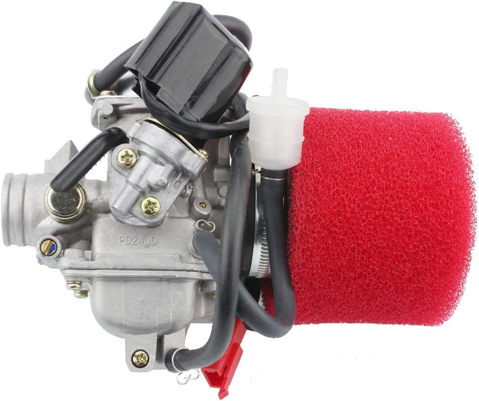 GOOFIT PD24J Carburetor with Air Filter for GY6 125cc 150cc 152QMI 157QMJ Engine Based ATV Scooter Go Kart