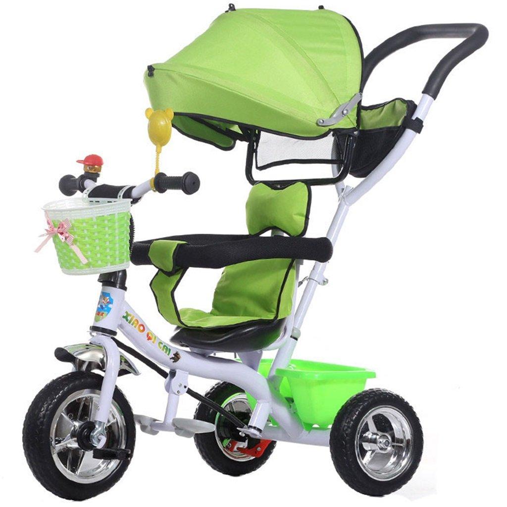 KANGR-子ども用自転車 多機能4-in-1折りたたみ式子供用三輪車キッドトロリープッシュハンドルステーラー自転車、アンチUV日よけ| 1-3-6歳の少年少女と赤ちゃんのおもちゃ|ブレーキ付き|インフレータブル(または非)ソリッドゴム3ホイール|緑 ( 色 : B型 bがた ) B07BTYC37F B型 bがた B型 bがた