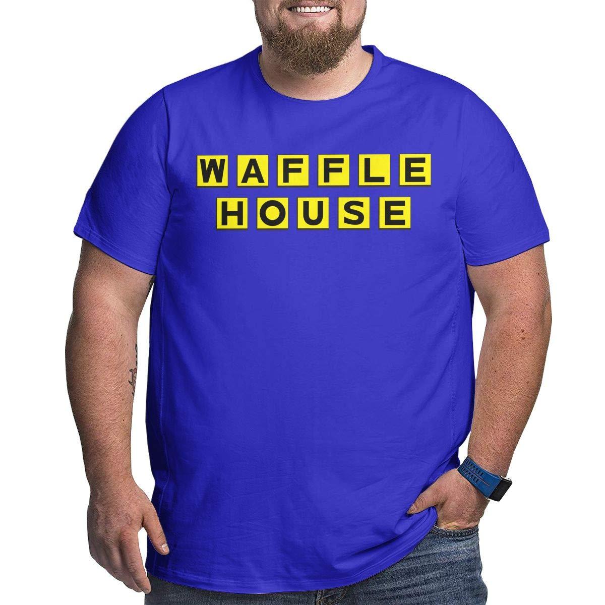 Fat Men's T Shirt Waffle House Logo Tee Shirts T-Shirt Short-Sleeve Round Neck Tshirt for Men Youth Boys Plus Size Blue 3XL by BKashy