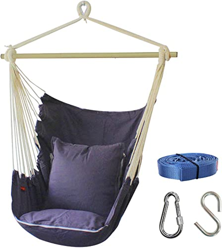 PIRNY Hammock Chair Relax Hanging Swing with Side Pocket,400LBS Large Space Size,Include 2 Cushion,Free Suspension Accessories,Outdoor Indoor Patio Garden Porch Use,Convenient to Receive Grey