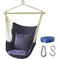 PIRNY Hammock Chair Relax Hanging Swing with Pocket,Outdoor and Indoor Use,400LBS Large Space Size,Convenient to Receive (Gray)