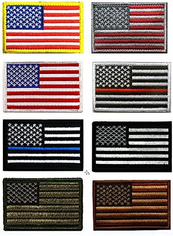 Bandera de Estados Unidos parche, antrix 8 Pack gran valor banderas de Estados Unidos fina línea azul delgada línea roja totalmente bordado de bandera de Estados Unidos Ejército Militar moral Velcro parches: