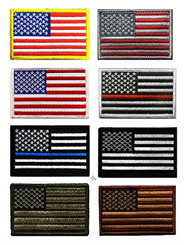 US Flag Patch, Antrix 8 Pack Great Value USA American Flags Thin Blue Line Thin Red Line US Army Flag Fully Embroidered Military Morale Patches ()