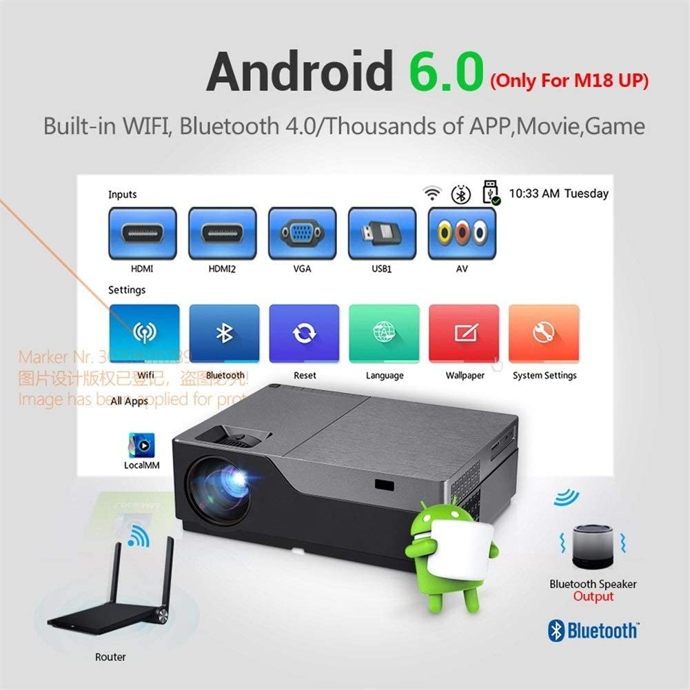 HD Proyector Full HD M18UP, 1920x1080P, Android 6.0 WiFi LED Mini ...