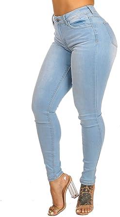 Amazon Com Moda Xpress Pantalones De Mezclilla De Cintura Alta Para Mujer Pantalones Entallados Y Elasticos Clothing