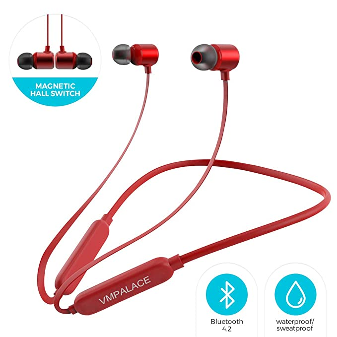 d2fb315b204 VMPALACE Bluetooth Headphones, Noise Cancelling Headphones with Microphone  - Magnetic HD Stereo Wireless Headphones,