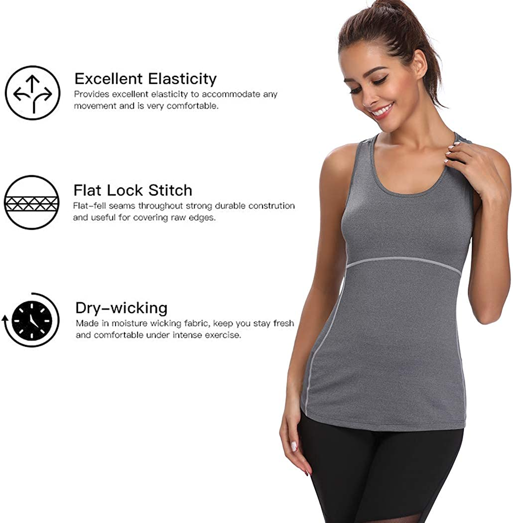 Joyshaper Training Top Damen Quick Dry Kompression Sport Tanktop Sportshirt Trainingsshirt Shirt T Shirt für Yoga und Fitness Running Top Weste Vest