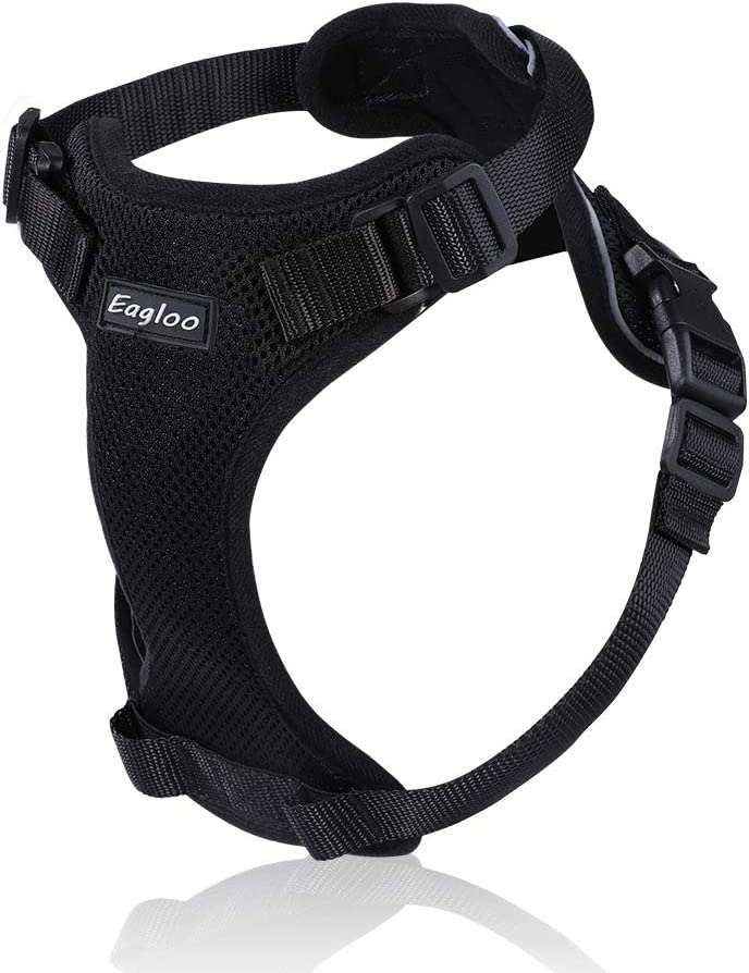 Cat Harness Small Dog Harnesses Escape Proof Kitten Harness Adjustable Vest with Reflective Strap Soft Mesh Metal Clip No Choke Comfort Fit Walking Jacket for Pet Puppy Rabbit XS Black