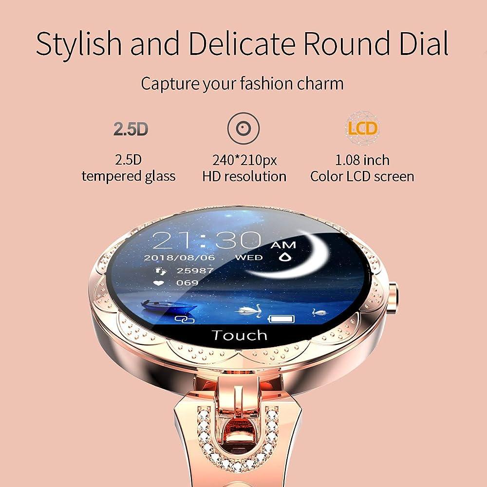 Reloj Inteligente Mujer Smartwatch para Mujer de Oro Rosa, presión ...