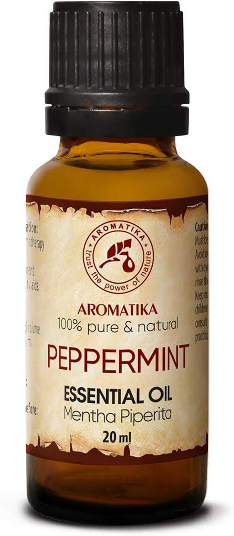 Aceite Esencial de Menta 20ml - Mentha Piperita - India - 100% Puro y Natural - Aceites Esenciales de Menta para Alivio del Estrés - Sauna - Relajación - Spa - Difusor Aromático - Lámpara de Aroma