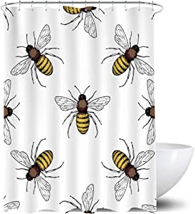 Homewelle Bee Shower Curtain Bumble Honeybee White Black Insects 60Wx72L Inch Funny Trendy Wild Animal Spring Rustic Waterproof 12 Pack Plastic Shower Hooks Polyester Fabric Bathroom Bathtub