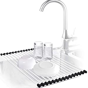 Urwanti Dish Drying Rack Over the Sink Roll Up Stainless Steel Silicone Coated Multipurpose Kitchen Drainer Foldable Rack (Black)