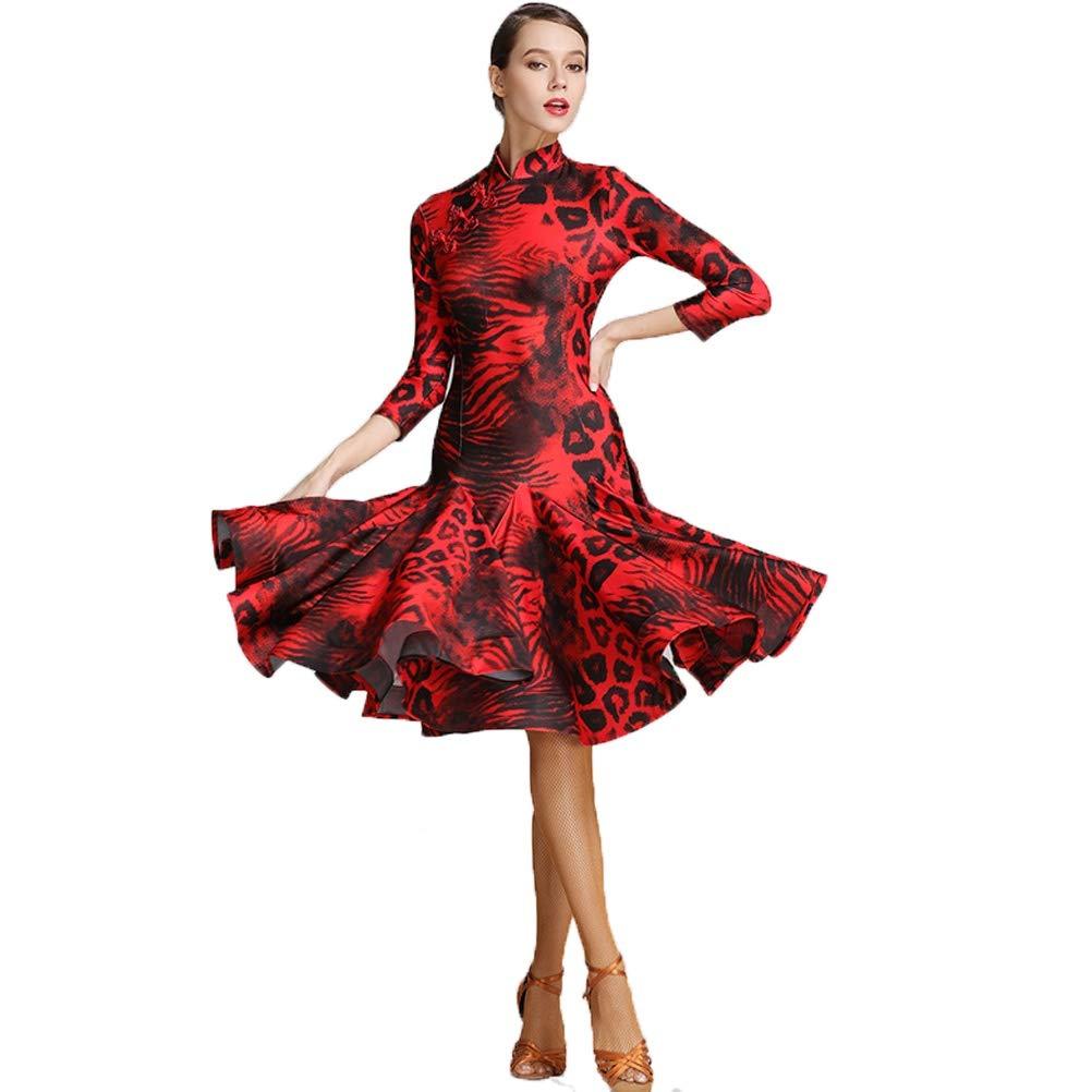 rouge XL Robes de Danse Latine Lisse pour Les Femmes Lyrique Costume De Danse De Tanga Zumba Professionnel Jupe Fendue Collier de Cheongsam Imprimé Léopard de la Mode