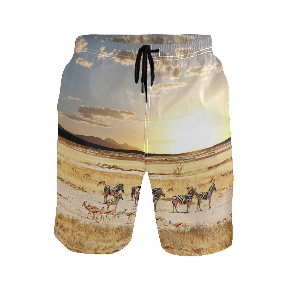 COVASA Mens Summer ShortsZebras Pattern Wild Animal Hippie Indie Stylized Trop