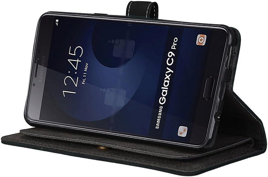 9 emplacements pour Cartes -Brown BONROY Coque Samsung Galaxy C9 Pro Etui en Cuir de Premi/ère Qualit/é Housse Coque pour Samsung Galaxy C9 Pro