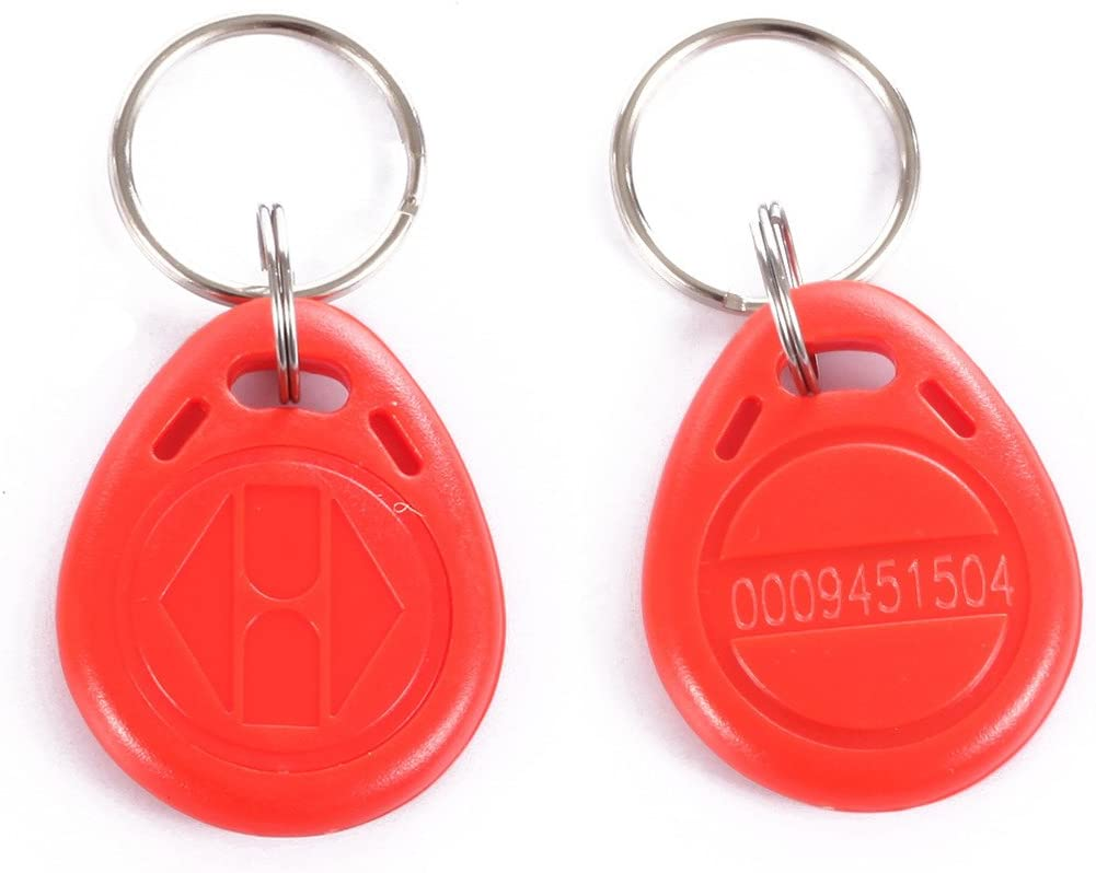 Em4100 Em4102 125khz Rfid Em-id Card Tag Token Key Chain Keyfob Read Only Color Red Pack Of 10  Office Products