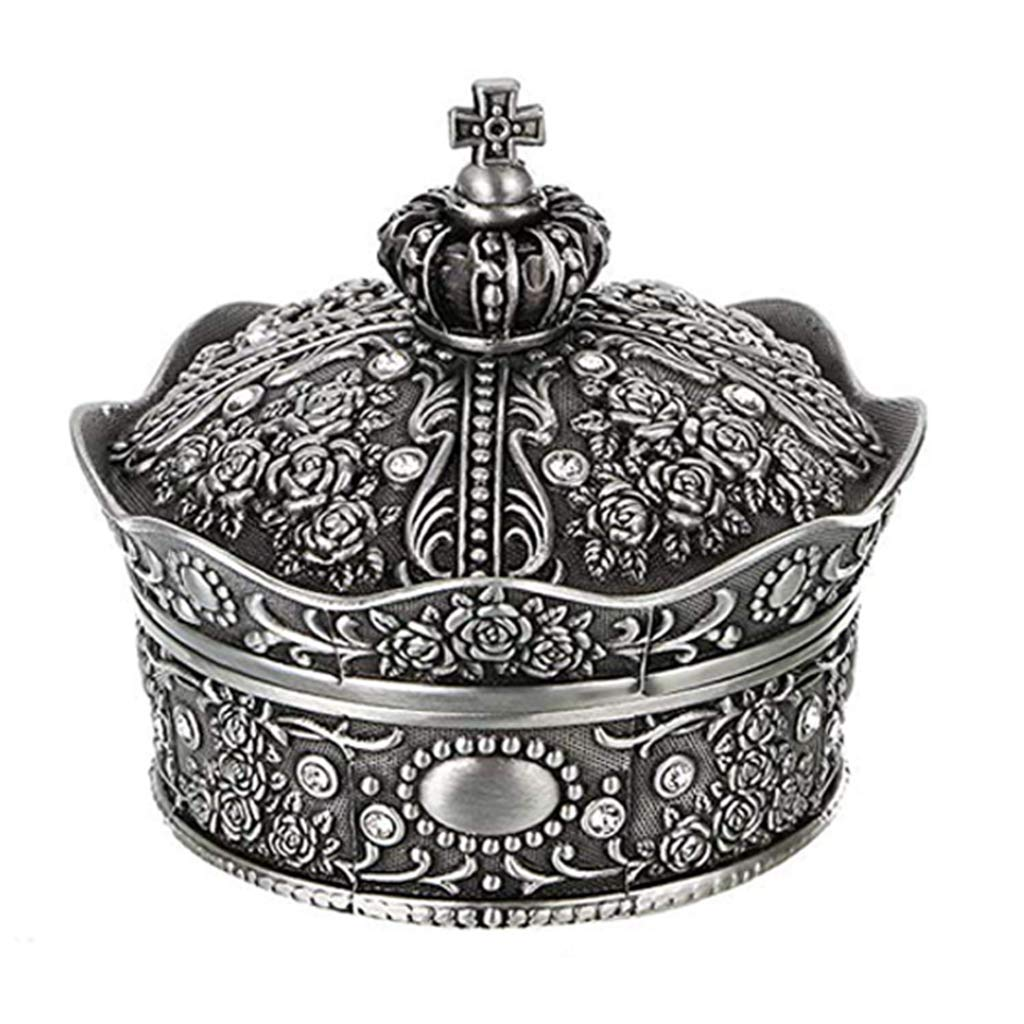 EAPTS Vintage Jewelry Box Antique Crown Design Trinket Treasure Chest Storage (S) by EAPTS