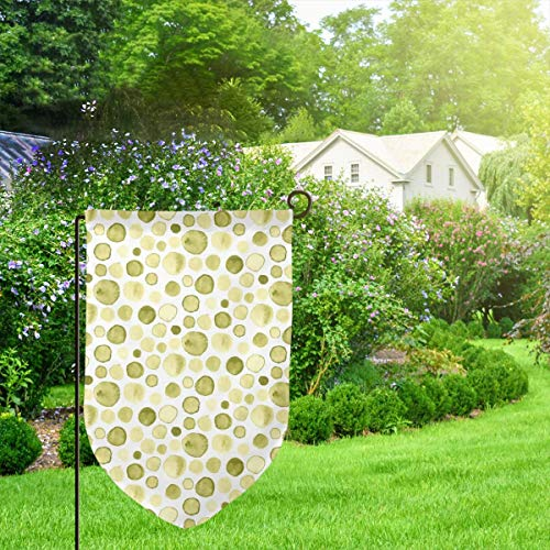 Garden Outdoor Flag Banner Olive Watercolor Abstract Spots Drops Dots Chartreuse Yellow Decorative Weather Resistant Double Stitched 18x12.5 Inch