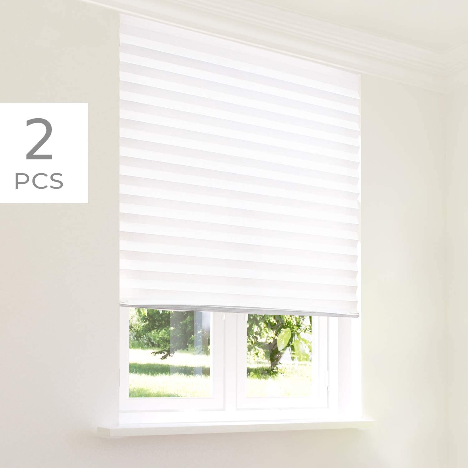 Chicology Instant Privacy Window Blind Original Pleated Paper Temporary Shade Easy To Cut And Install With Holding Clips Refresh White Privacy Light Filtering 2 Piece 48 W X 72 H Amazon Co Uk