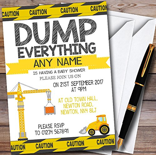 (10 x Dump Everything Digger Construction Personalized Baby Shower Invitations)