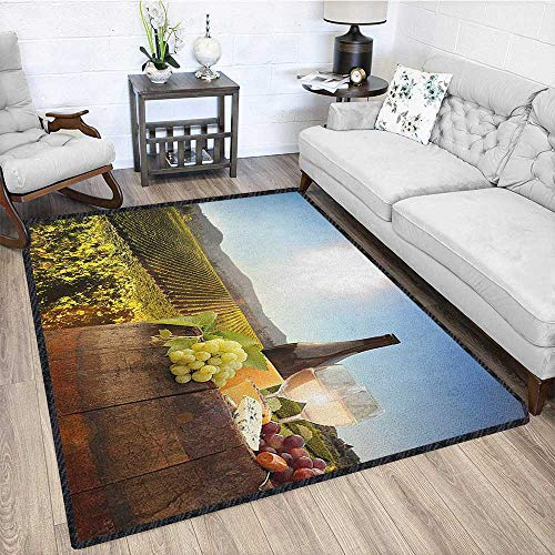- Wine Graceful Area Rug,White Wine with Barrel on Famous Vineyard in Chianti Tuscany Agriculture Carpet for Children Home Decorate Green Brown Pale Blue 67
