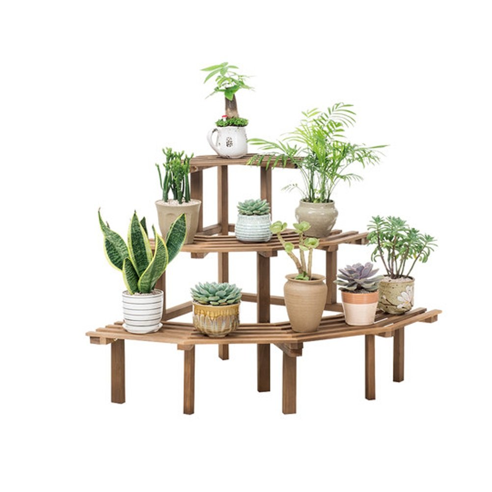 LQQGXL Solid wood corner shelf Multi-level ladder with multi-layer floor - Wood shelf (85x20x60cm) Flower stand