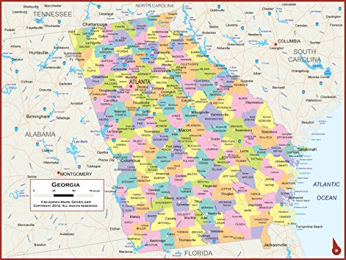 36 x 27 Georgia State Wall Map Poster with Counties - Classroom Style Map with Durable Lamination - Safe for Use with Wet/Dry Erase Marker - Brass Eyelets for Enhanced Durability