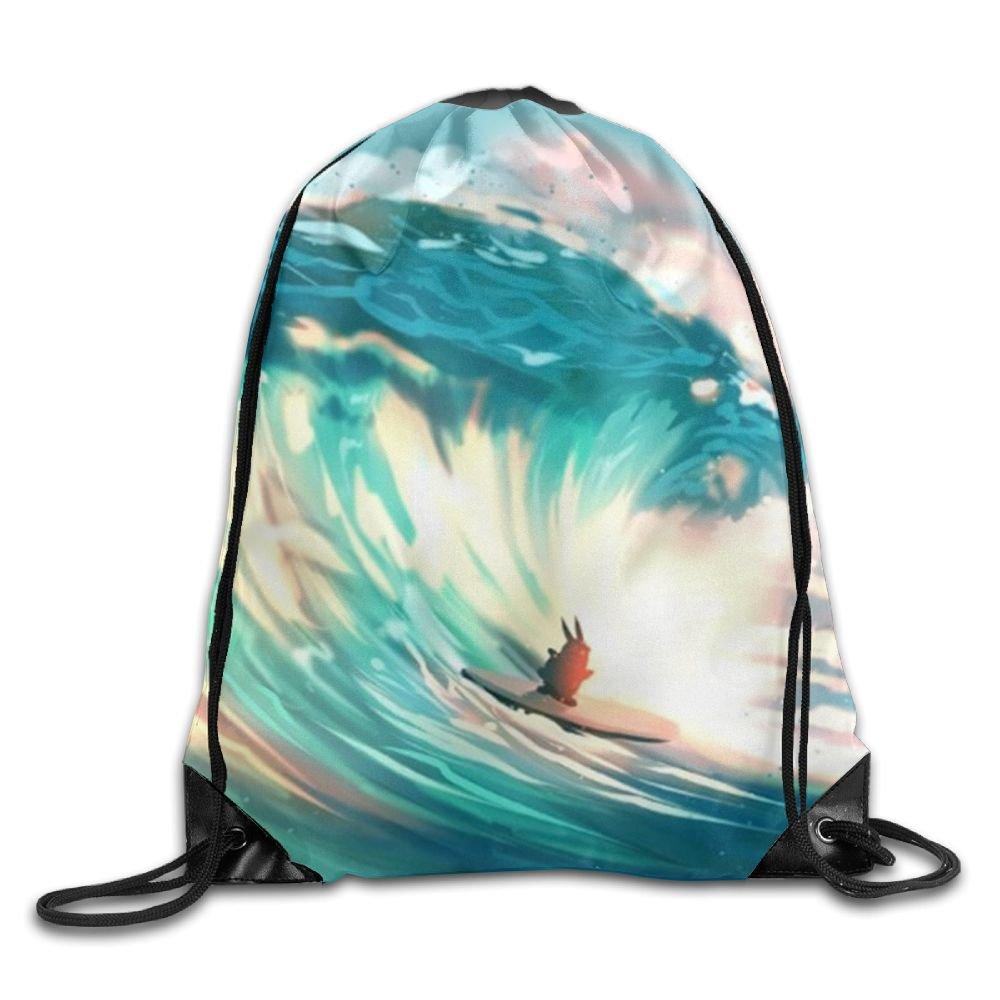 Surfing Drawstring Backpack Rucksack Shoulder Bags Training Gym Sack For Man And Women