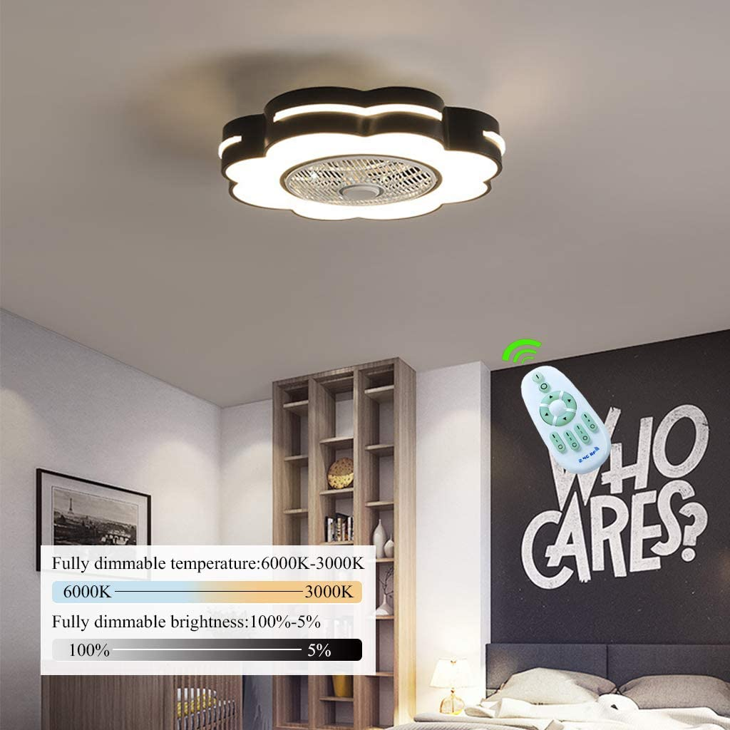 Ventilador De Techo Oculto La Luz Creativa De Con Con Mando A Distancia Regulable LED Ultra Silencioso Ventilador De Techo Moderna De La Sala Infantil De Techo Ventilador De Techo,Negro