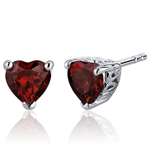 2.00 Carats Garnet Heart Shape Stud Earrings in Sterling Silver Rhodium Nickel Finish