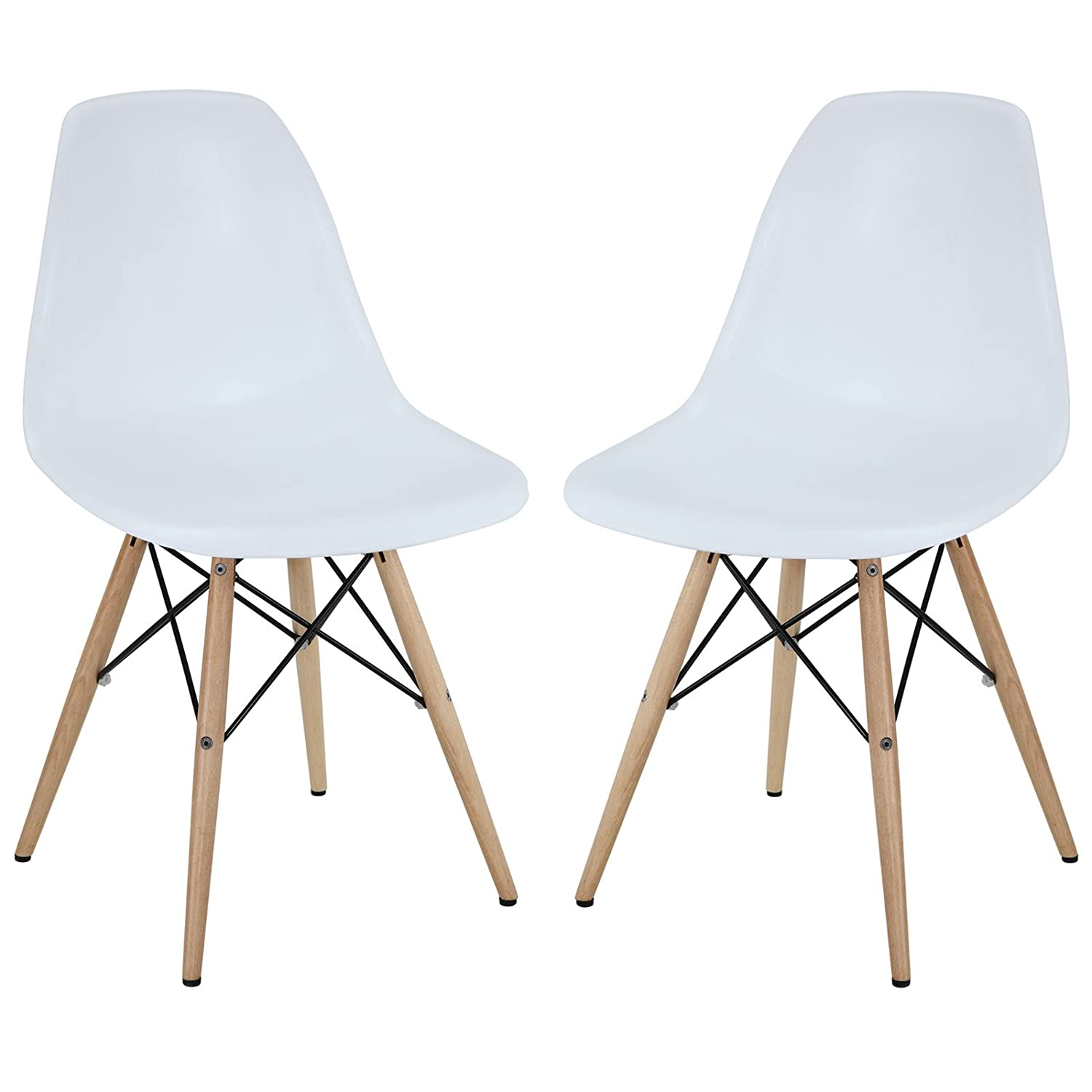 Lovely Amazon.com   Modway Two Plastic Side Chairs In White With Wooden Base    Chairs