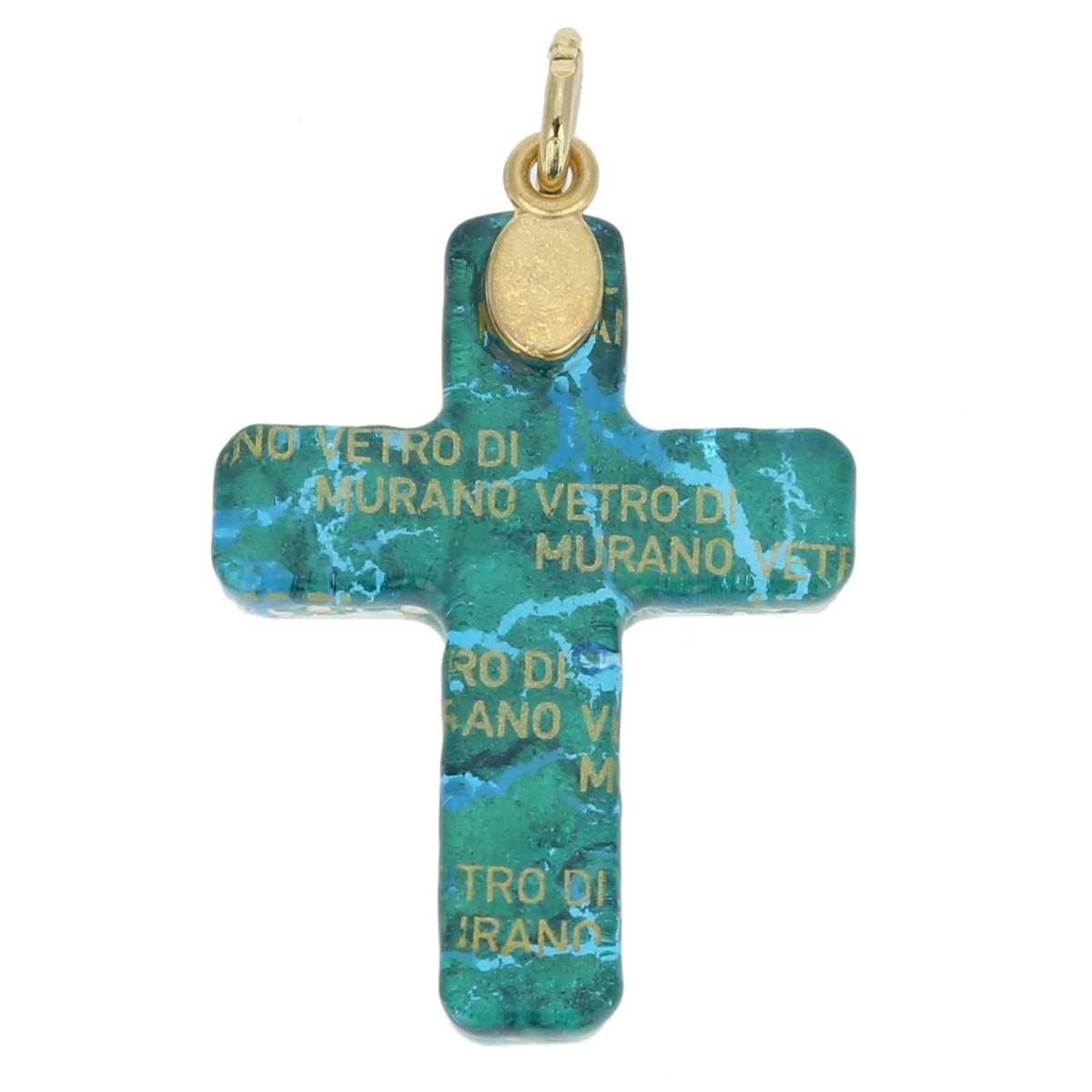 GlassOfVenice Murano Glass Venetian Reflections Cross Pendant Aqua Gold