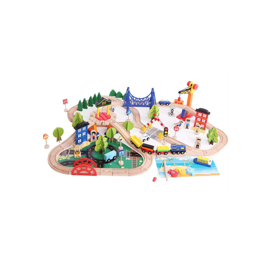 GLJJQMY 108 Pieces of Korean Wooden Train Tracks with Fishing Scenes, Urban Traffic, Beech Children's Educational Toys